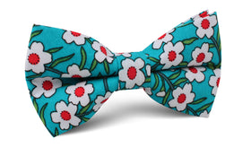 Maldivian Turquoise Floral Bow Tie