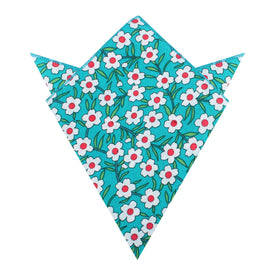 Maldivian Turquoise Floral Pocket Square