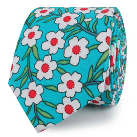 Maldivian Turquoise Floral Skinny Tie