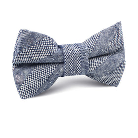 Manarola Navy Tweed Striped Linen Kids Bow Tie