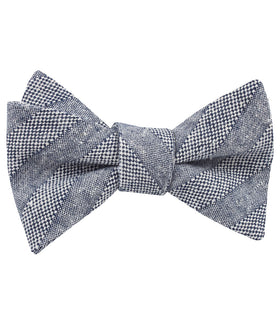 Manarola Navy Tweed Striped Linen Self Bow Tie