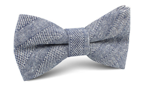 Manarola Navy Tweed Striped Linen Bow Tie