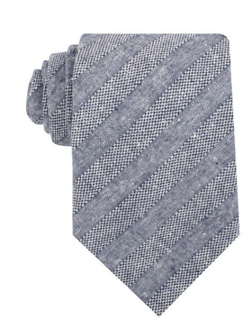 Manarola Navy Tweed Striped Linen Necktie