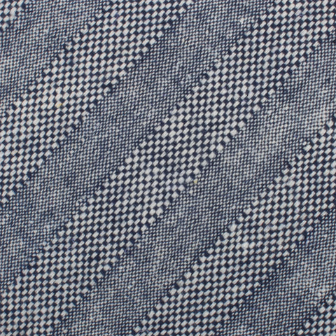 Manarola Navy Tweed Striped Linen Pocket Square