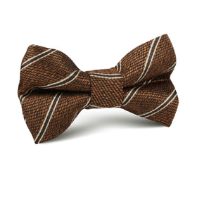 Manhattan Brown Bronze Striped Kids Bow Tie