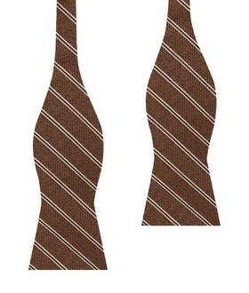 Manhattan Brown Bronze Striped Self Bow Tie