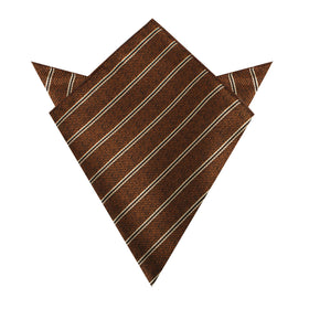 Manhattan Brown Bronze Striped Pocket Square
