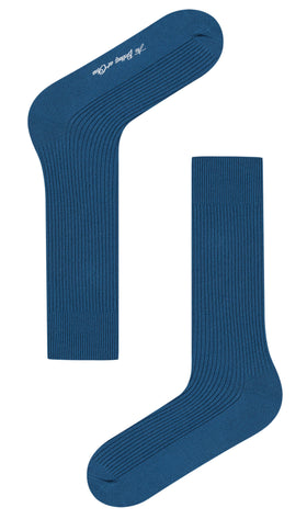 Marine Blue Ribbed Socks