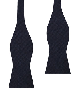 Marine Dark Navy Blue Twill Linen Self Bow Tie