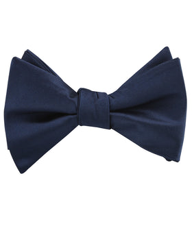 Marine Midnight Blue Satin Self Bow Tie