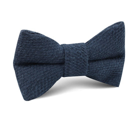 Marine Navy Blue Linen Kids Bow Tie