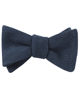 Marine Navy Blue Linen Self Bow Tie