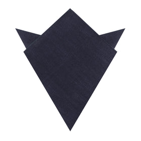 Marine Dark Navy Blue Twill Linen Pocket Square