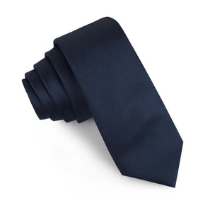 Marine Midnight Blue Satin Skinny Tie