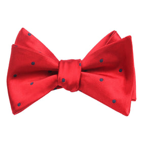 Maroon Bow Tie Untied with Navy Blue Polka Dots