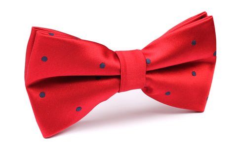 Maroon Bow Tie with Navy Blue Polka Dots