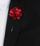 Makybe Diva Maroon Lapel with White Polkadots Suit Jacket Boutonniere