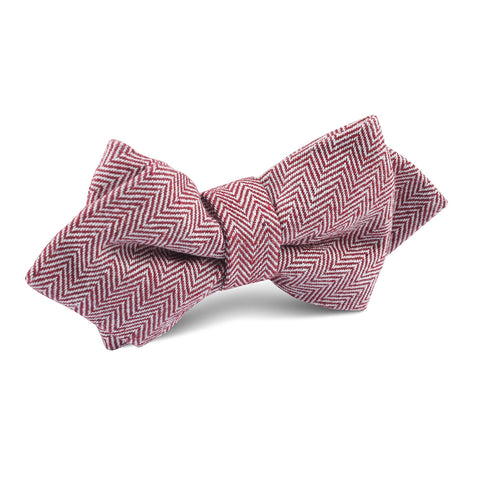 Maroon Herringbone Linen Diamond Bow Tie