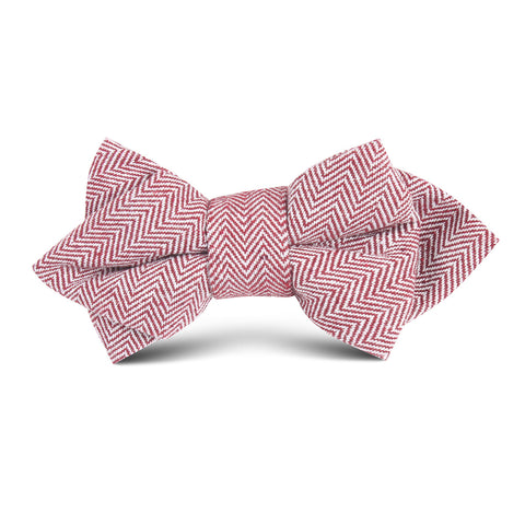 Maroon Herringbone Linen Kids Diamond Bow Tie