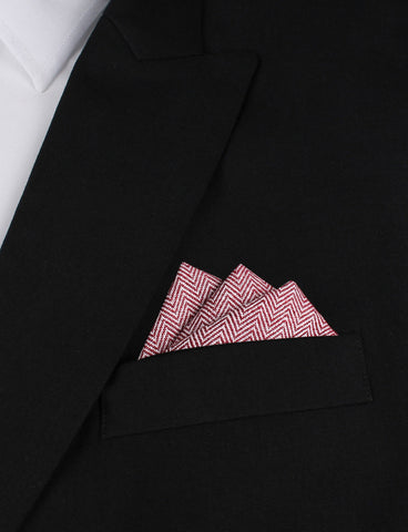 Maroon Herringbone Linen Pocket Square