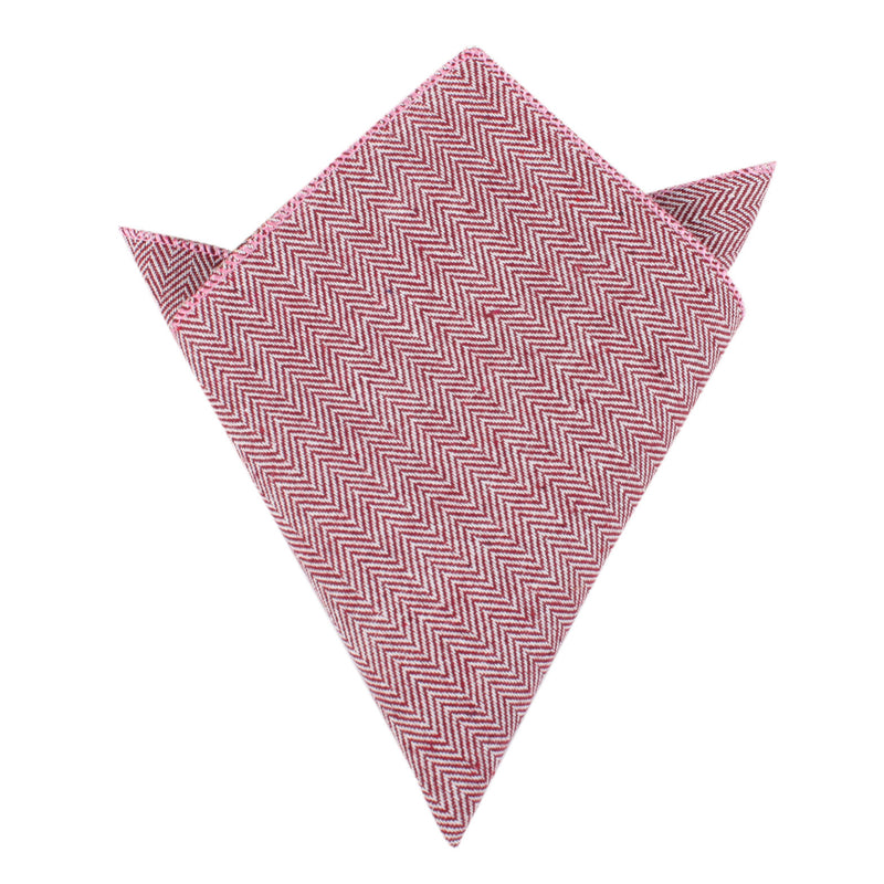 Maroon Herringbone Linen Pocket Square Mens Handkerchief