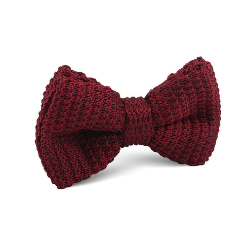 Maroon Knitted Bow Tie