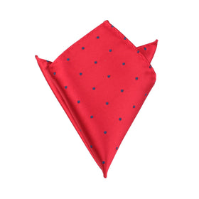 Maroon Pocket Square with Navy Blue Polka Dots
