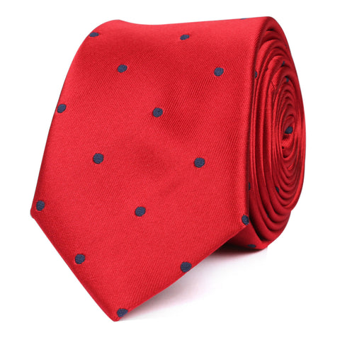 Maroon Skinny Tie with Navy Blue Polka Dots