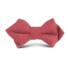 Maroon Slub Linen Kids Diamond Bow Tie