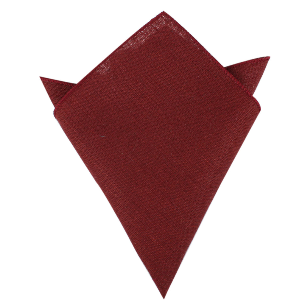 Maroon Slub Linen Pocket Square