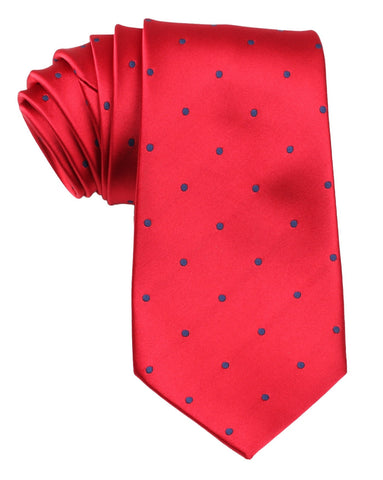 Maroon Tie with Navy Blue Polka Dots