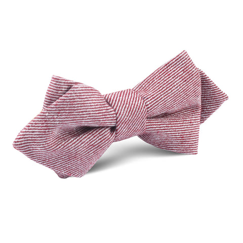 Maroon & White Twill Stripe Linen Diamond Bow Tie