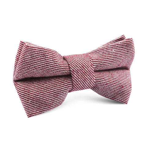 Maroon & White Twill Stripe Linen Kids Bow Tie