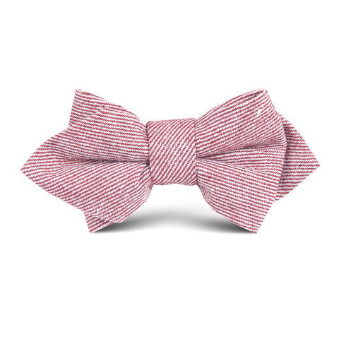 Maroon & White Twill Stripe Linen Kids Diamond Bow Tie