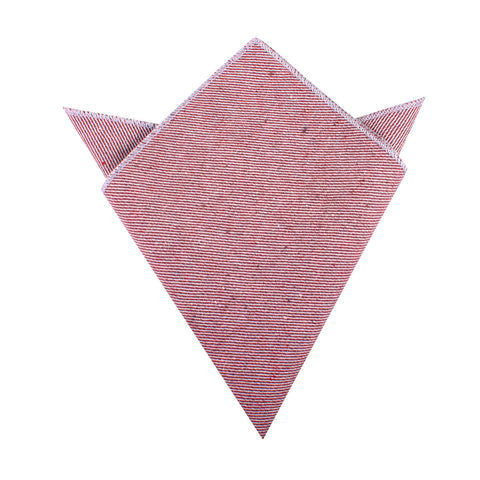 Maroon & White Twill Stripe Linen Pocket Square