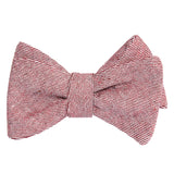 Maroon White Twill Stripe Linen Self Tie Bow Tie