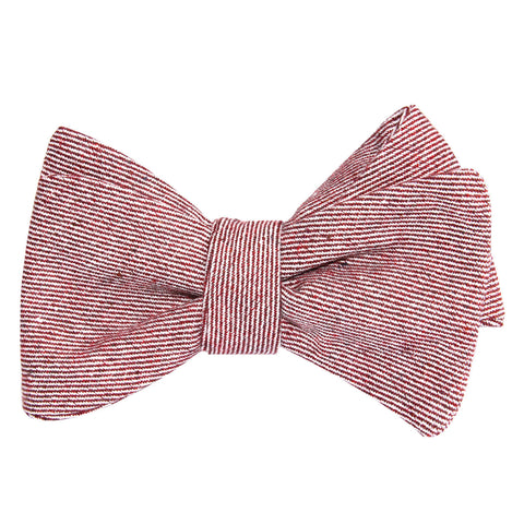 Maroon & White Twill Stripe Linen Self Tie Bow Tie
