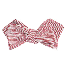 Maroon & White Twill Stripe Linen Self Tie Diamond Tip Bow Tie