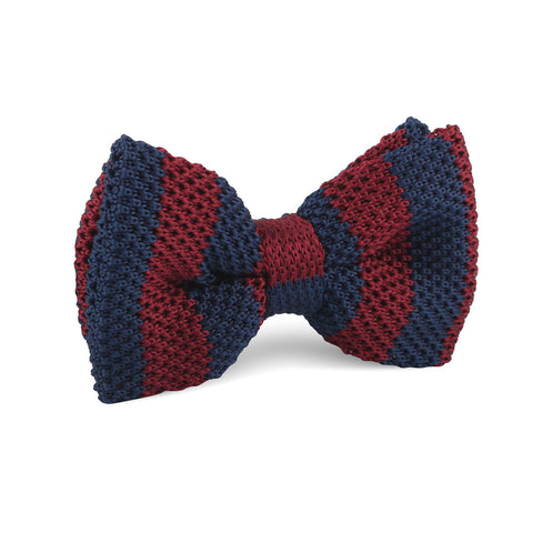 Maroon with Navy Blue Striped Knitted Bow Tie