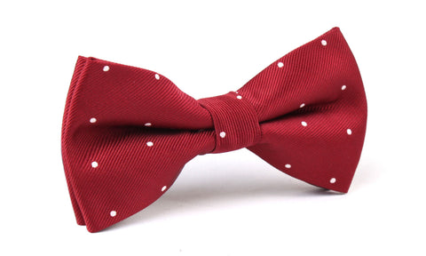 Maroon with White Polka Dots Bow Tie