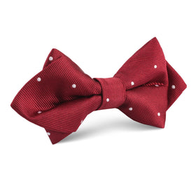 Maroon with White Polka Dots Diamond Bow Tie
