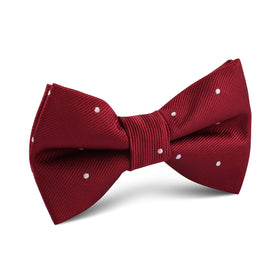 Maroon with White Polka Dots Kids Bow Tie