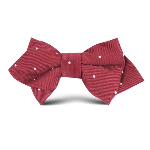 Maroon with White Polka Dots Kids Diamond Bow Tie