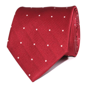 Maroon with White Polka Dots Necktie