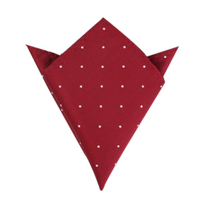 Maroon with White Polka Dots Pocket Square