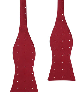Maroon with White Polka Dots Self Tie Bow Tie