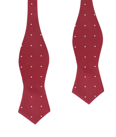 Maroon with White Polka Dots Self Tie Diamond Tip Bow Tie