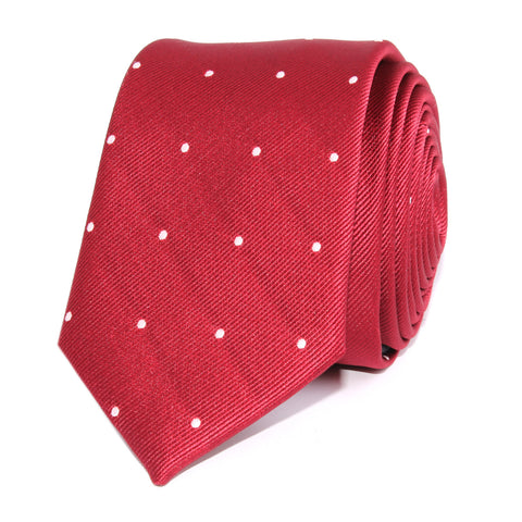 Maroon with White Polka Dots Skinny Tie