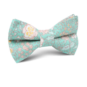 Maui Mint Green Floral Kids Bow Tie