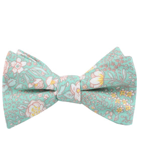 Maui Mint Green Floral Self Bow Tie